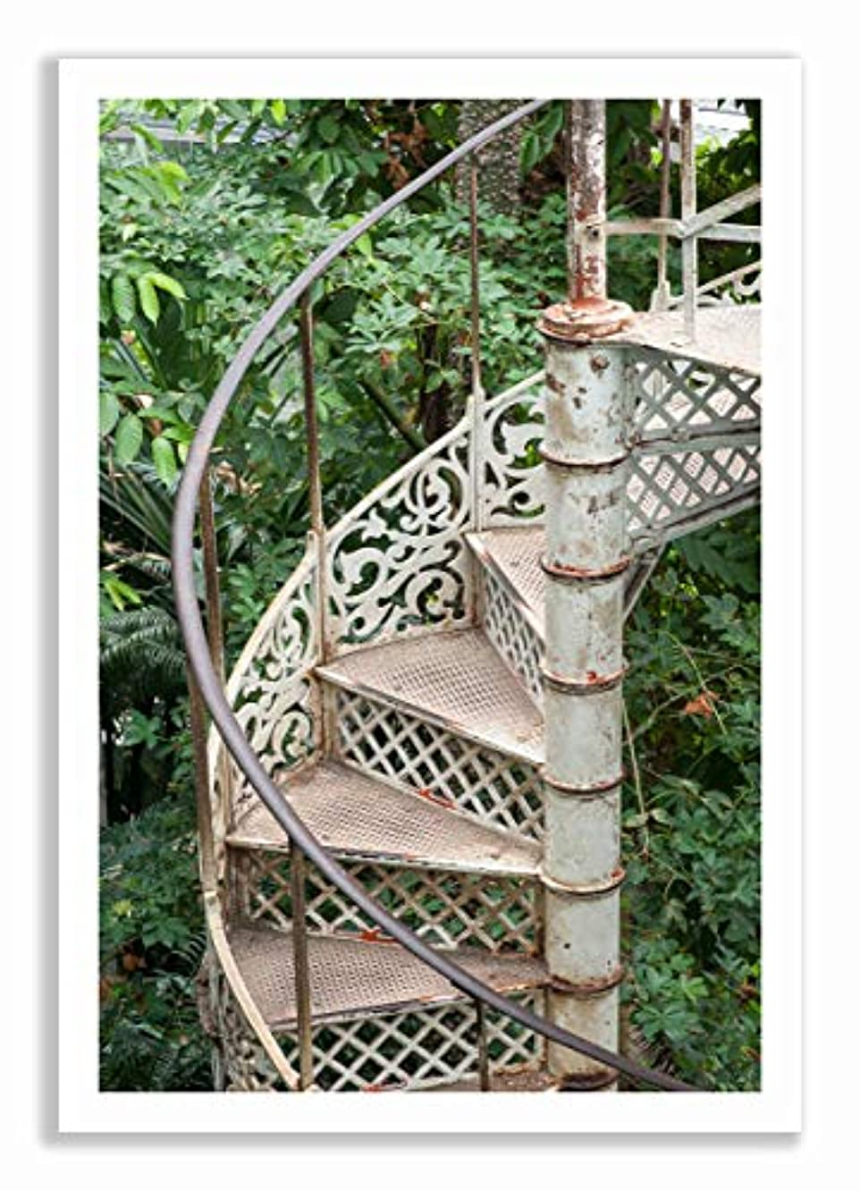 Greenhouse Staircase, White Varnished Wood Frame, with Mount, Multicolored, 40x60