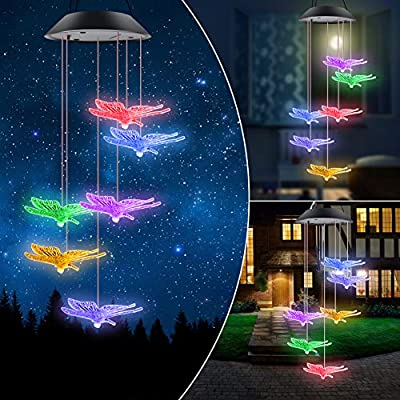 ERYTLLY Solar String Lights, Color Changing LED Mobile Hummingbird Wind Chimes, Waterproof Outdoor Solar Lights for Home Yard Patio Garden (Butterflies Chimes)