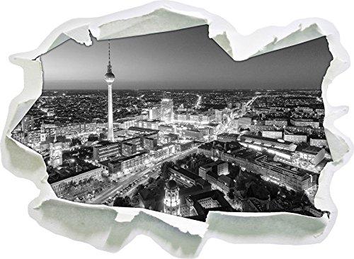 Berlin City Panorama Kunst B&W, Papier 3D-Wandsticker Format: 62x45 cm Wanddekoration 3D-Wandaufkleber Wandtattoo