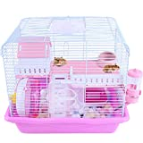 LIL Cage De Hamster Nain Habitat De Démarrage Simple Cage Convient Aux Hamsters Gerbilles Ou Souris 35 Cm * 26 5 Cm * 31 Cm,Pink