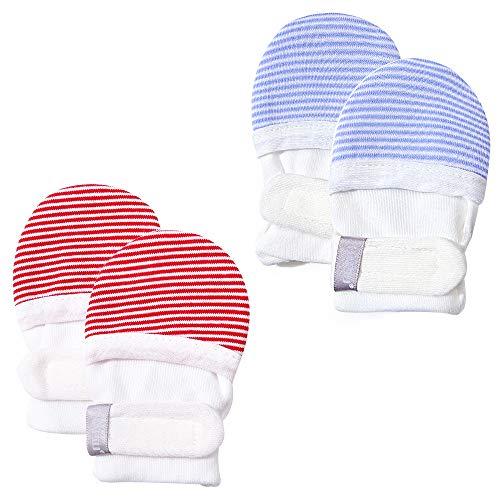 HAPIU Baby No Scratch Mittens,Newborn Baby Mittens,Blue&Red Stripe,6-12 Months