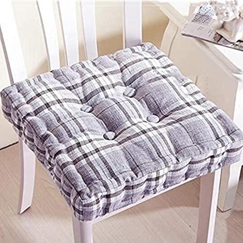 LTHDD Cojín de asiento de lino japonés, cojín de la silla del cojín del piso Cojín grueso Tatami Cojín para interior al aire libre cuadrado 1 paquete-gris 43x43x8cm