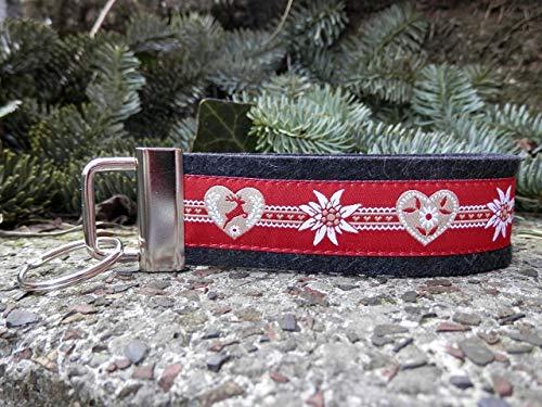 Schlüsselanhänger Schlüsselband Wollfilz schwarz grau Herzen rot Edelweiß Trachtenschick Taschenanhänger Landhausstil!