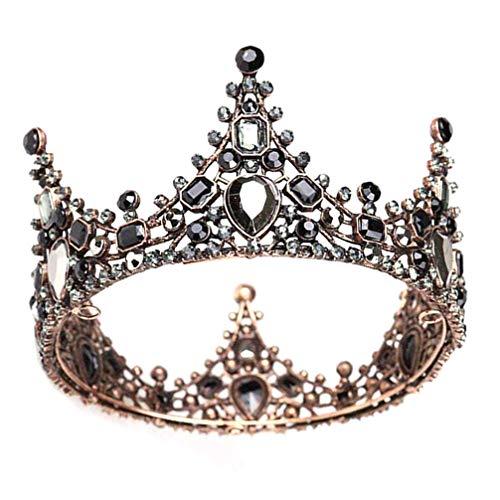 Minkissy corona barocca retrò in strass nero lussuose diademi vintage da sposa in cristallo corone da ballo per la regina principessa sposa per matrimoni cosplay