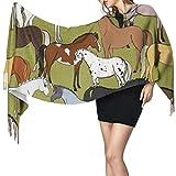 Bufanda de mantón Mujer Chales para, Colorido caballo lindo bufanda cálida de invierno para mujer moda bufandas largas grandes y suaves de cachemira