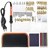 Pirograbado Kit Tips Set 92pcs Bricolaje leña Pluma de la Plantilla de Soldadura de Hierro pirograbado Herramientas Crafts Kit - Enchufe de EE.UU, excelente artesanía