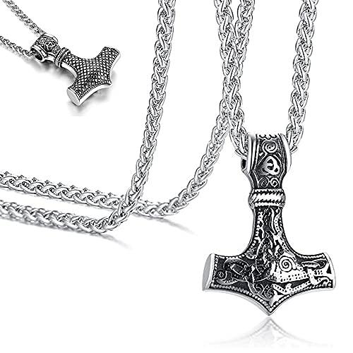 Collar Martillo Thor, Collar Vikingo de Acero Inoxidable con Martillo de Thor, para Hombre, Niño Viking Norse Colgante Collar Punk Gotico, Plata