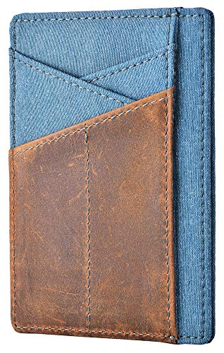Slim Wallet For Men Minimalist Front Pocket Wallet Crazy Horse Leather With Blue Waterproof Cloth Credit Card Holder Security Rfid Blocking Wallet For Women