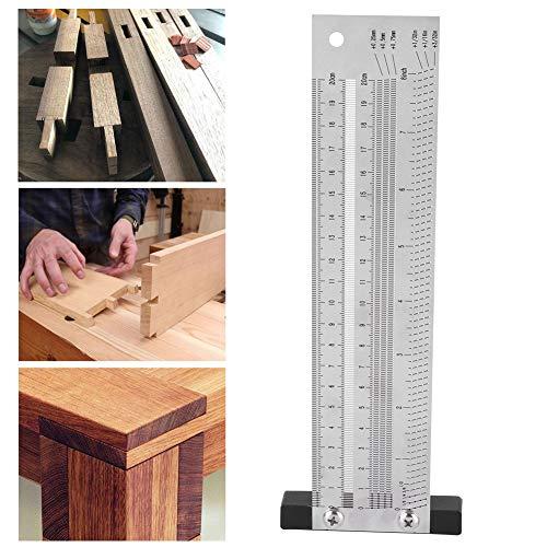 Regla de marcado para carpintería, herramienta de calibre de carpintero de acero inoxidable de operación simple, antioxidante para grabar para carpintería(8 inches)