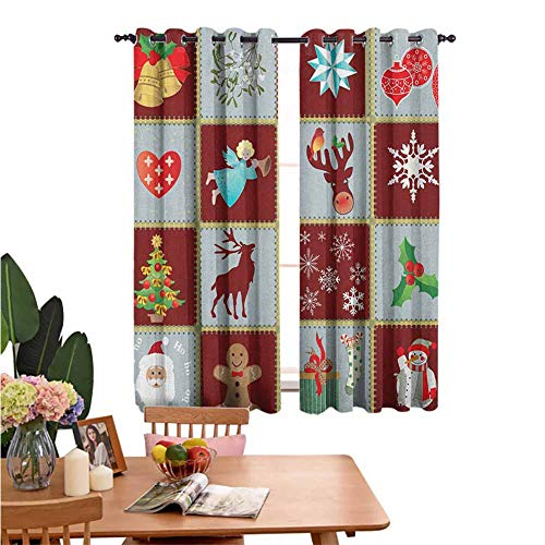 Blackout Curtains for Living Room- Thermal Insulated Blackout Curtains Christmas Tree Reindeers Noel Santa Presents Snowman Pine Tree Traditional Window Curtains Apartment Decoration W55'x L45'