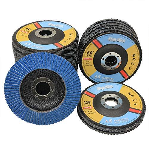 Disco de solapa, paquete de 20 unidades de 4.5 pulgadas x 7/8 pulgadas, rueda de molienda abrasiva de zirconia T29 incluye 40/60/80/120 granos