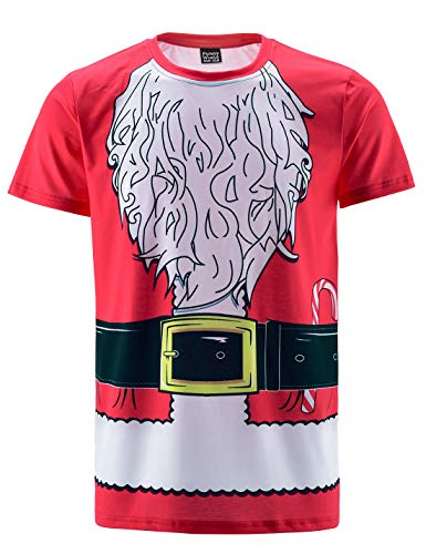 Funny World Men's Christmas Santa Claus Costume T-Shirts (M, Red)