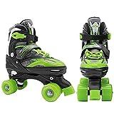 SportVida Rollschuhe für Kinder und Erwachsene Größenverstellbar 31-34 35-38 (Schwarz, 31-34)