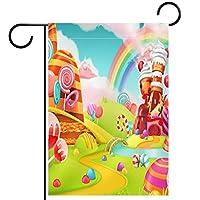 ガーデンヤードフラッグ両面 /28x40inch/ ポリエステルウェルカムハウス旗バナー,キャンディーカップケーキロリポップ