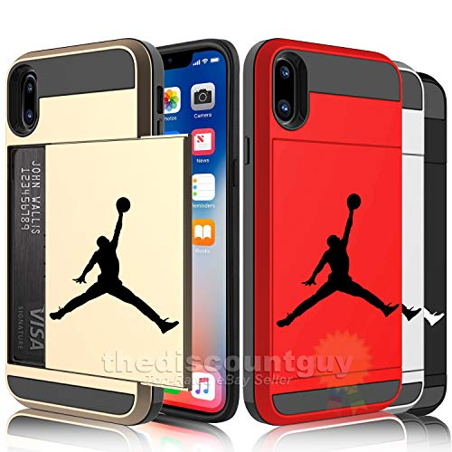 iPhone XR - Dual-Layered Credit Card ID Storage Basketball Jordan Compartment Phone Case to Store Money Cash License Cards with Slide Michael Wallet Air Protective Cover (Gold)