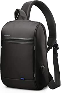 Kingsons ボディバッグ ショルダーバッグ 斜めがけ ワンショルダーバッグ USBポート 防水 大容量 ビジネス 盗難防止 通学通勤 旅行 メンズ ブラック
