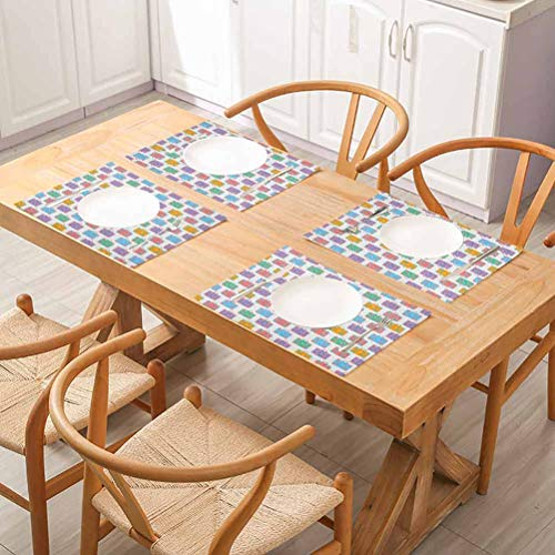 FloraGrantnan Waterproof Linen Table Mat Placemats, Colorful Travel Holiday Themed Suitcases with Si, Placemats Washable Easy to Clean, Set of 4