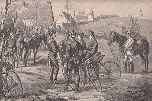 Radfahren/Radsport - Das Fahrrad im Heeresdienst. Ein Adjutant verteilt im Manöverquartier die Depeschen an die fahrenden Ordonnanzen. [Grafik]