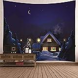KnBoB Tapiz para Pared Árbol de Navidad de Nieve con Luna 150 x...