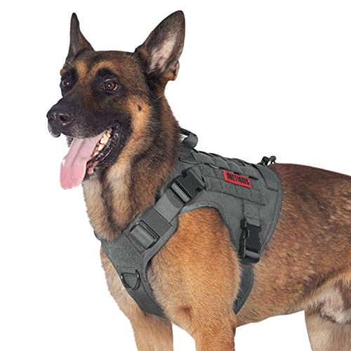 Tactical Dog Training Vest No Pull Harness for Dogs,Adjustable K9 Dog Hiking Harness Working Vest(Grey,Medium)