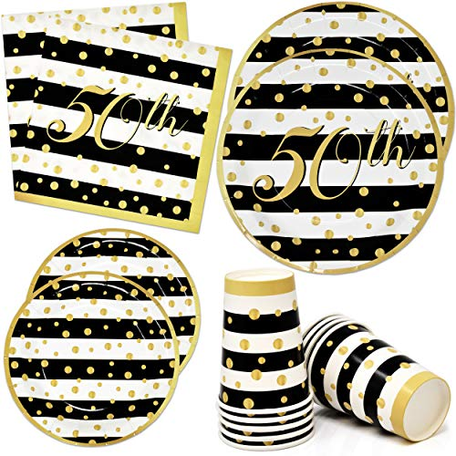 """50th Party Supplies Tableware Set 24 9"""" Paper Dinner Plates 24 7"""" Dessert Plate 24 9 Oz. Cups 50 Lunch Napkins Fifty Happy Birthday Party Favors & Fiftieth Gold Anniversary Wedding Celebration Decor"""