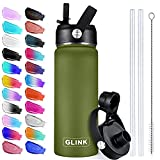 GLINK Stainless Steel Water Bottle with Straw - 32 oz Wide Mouth Double Wall Vacuum Insulated Water Bottle Leakproof, Straw Lid and Spout Lid with New Rotating Rubber Handle - Olive Green