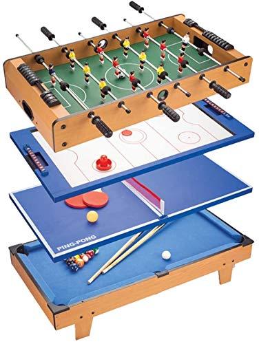 JISHIYU Mesa de futbolín, Tabla de combinación de Juego 4-en-1 con futbolín/Hockey sobre Hielo/Mesa de Ping Pong/Billar for Adultos y niños