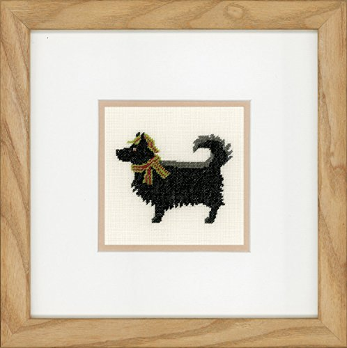 Lanarte telpatroon verpakking hond met hoed kruissteekverpakking, katoen, meerkleurig, 9 x 9 x 0,3 cm