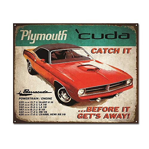 Plymouth Cuda Catch It Before It Gets Away Vintage Retro Car Auto Tin Sign Metal Sign TIN Sign 7.8X11.8 INCH