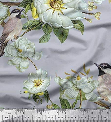 Soimoi Graue Blätter Aus Poly-Crêpe-Stoff, Weißer Nähstoff Mit Blumen- Und Vogelmotiv, 52 Zoll Breit