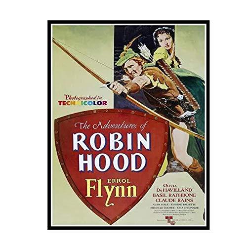 IUYTRF Les aventures de Robin Hood film affiche en soie peinture décorative -50X75 cm sans cadre 1 pièces