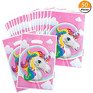 Mcree 50Pcs Unicorn Gift Grocery Bags Great For Filling With Goodies Candy Cookie Snacks Small Toys, For Kids Birthday Parties Supplies, 9.8*6.7inch