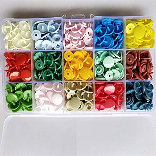 360 Conjuntos de T5 a presión de plástico Botón con Tool Kit broches de presión Alicates Organizador Contenedores, Fácil sustitución de broches de presión, Bricolaje Familia Sastre (Color : 150 pcs)