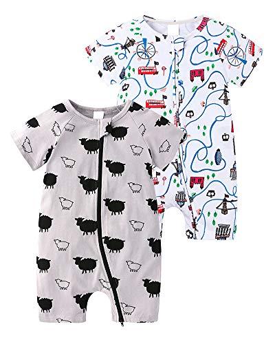 2-teilig Kinder Kleinkind Mädchen Jungen Sommer Schlafanzug Bekleidung Short Sleeve Kurzer Overall Jumpsuit Drucken Spielanzug 18-24 M