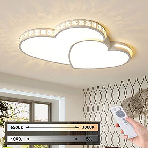 Modern Dimmbar Schlafzimmer Deckenlampe LED Kristall Dekoration Deckenleuchte Mit Fernbedienung, Kinderzimmer Deckenbeleuchtung in Herz Form Design, Junge Mädchen Kinder Zimmer Beleuchtung Leuchten