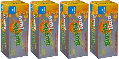 Kit 4 Biovita C Zinco Efervescente: 1000mg De Vitamina C + Zinco, Vitamed