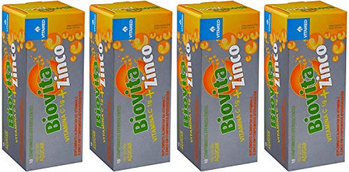 Kit 4 Biovita C Zinco Efervescente: 1000mg De Vitamina C + Zinco, Vitamed