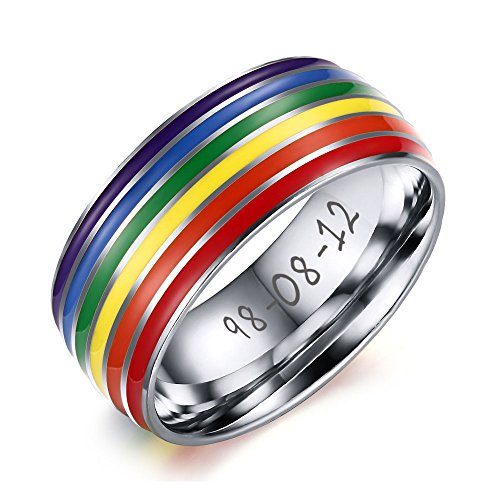 Personalized Custom Sliver Stainless Steel Gay Lesbian Pride Rainbow Weeding Promise Ring,Size 9
