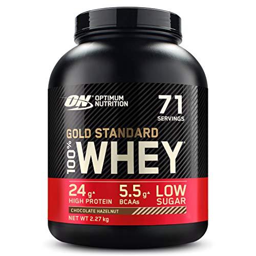 Optimum Nutrition ON Gold Standard Whey Protein Pulver, Eiweißpulver zum Muskelaufbau, natürlich enthaltene BCAA und Glutamin, Chocolate Hazelnut, 71 Portionen, 2.27kg, Verpackung kann Variieren