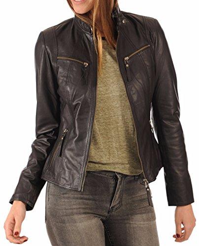 LEATHER FARM Women's Lambskin Leather Bomber Biker Jacket (Large, Black)