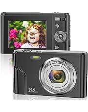 Fotocamera digitale 1080P FHD Mini Videocamera 36 MP LCD Ricaricabile Studenti, Fotocamera compatta con zoom digitale 16x, YouTube Vlogging Camera per bambini, adulti e principianti