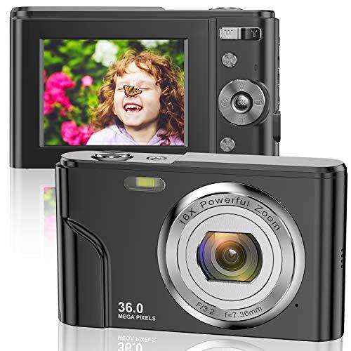 Digitalkamera 1080P FHD Mini-Videokamera 36MP LCD-Bildschirm Wiederaufladbare Studenten Kompaktkamera Taschenkamera mit 16-Fach Digitalzoom YouTube Vlogging-Kamera für Kinder, Erwachsene Anfänger