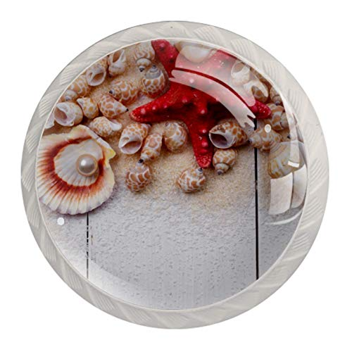 Perillas de armario de cocina, perillas decorativas redondas, armario, cajones, tocador, tirador, 4 piezas, conchas, estrella de mar, playa de perlas
