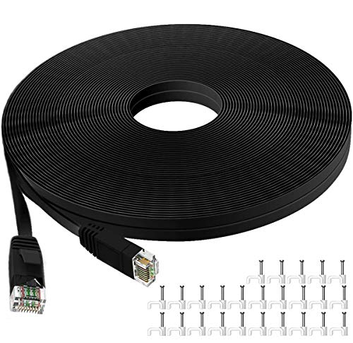 Cat 6 Ethernet Cable 50 ft, Flat Internet Network LAN Patch Cords, Solid Cat6 High Speed Computer Wire with Clips & Snagless Rj45 Connectors for Router,Modem, Faster Than Cat5e/Cat5 (50FT/15M) Black