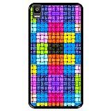 Hapdey silikon Hülle für [ Bq Aquaris E5s - E5 4G ] Design [ Farbige Quadrate mit Wassertropfen ] Schwarze Flexibles TPU