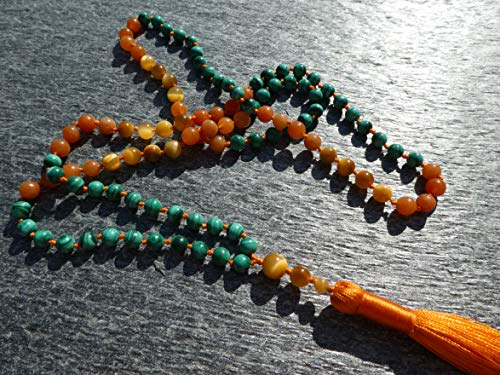 Malachite AAA* (Highest Quality), Golden Tiger-Eye, Red Aventurine (108 + Guru), Necklace, Bracelet - 6-mm Beads + Fire Orange Tassel 0912
