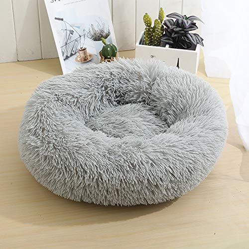 Katzenbett Sound Sleep Donut Hundebett, hellgraues Plüsch Premium beruhigendes Nestbett klein 50cm