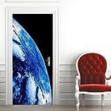 Etiqueta de Puerta Planeta Azul 3D Pegatinas de Pared Decoración de Hogar 95 x 215 cm