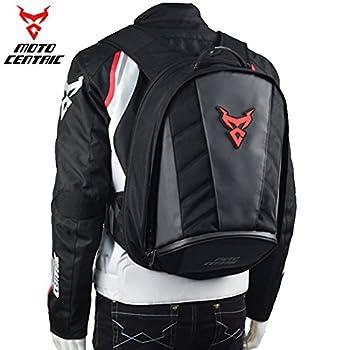 MotoCentric Motorcycle Leather Waterproof Backpack Riding Helmet  Red