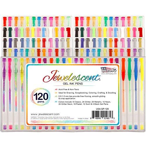 US Art Supply Jewelescent 120 Gel Pen Set - Professional Artist Quality Gel Ink Pens in Vibrant Colors - Classic, Glitter, Metallic, Neon, Pastel & Swirl Colors - 100% Satisfaction Guarantee